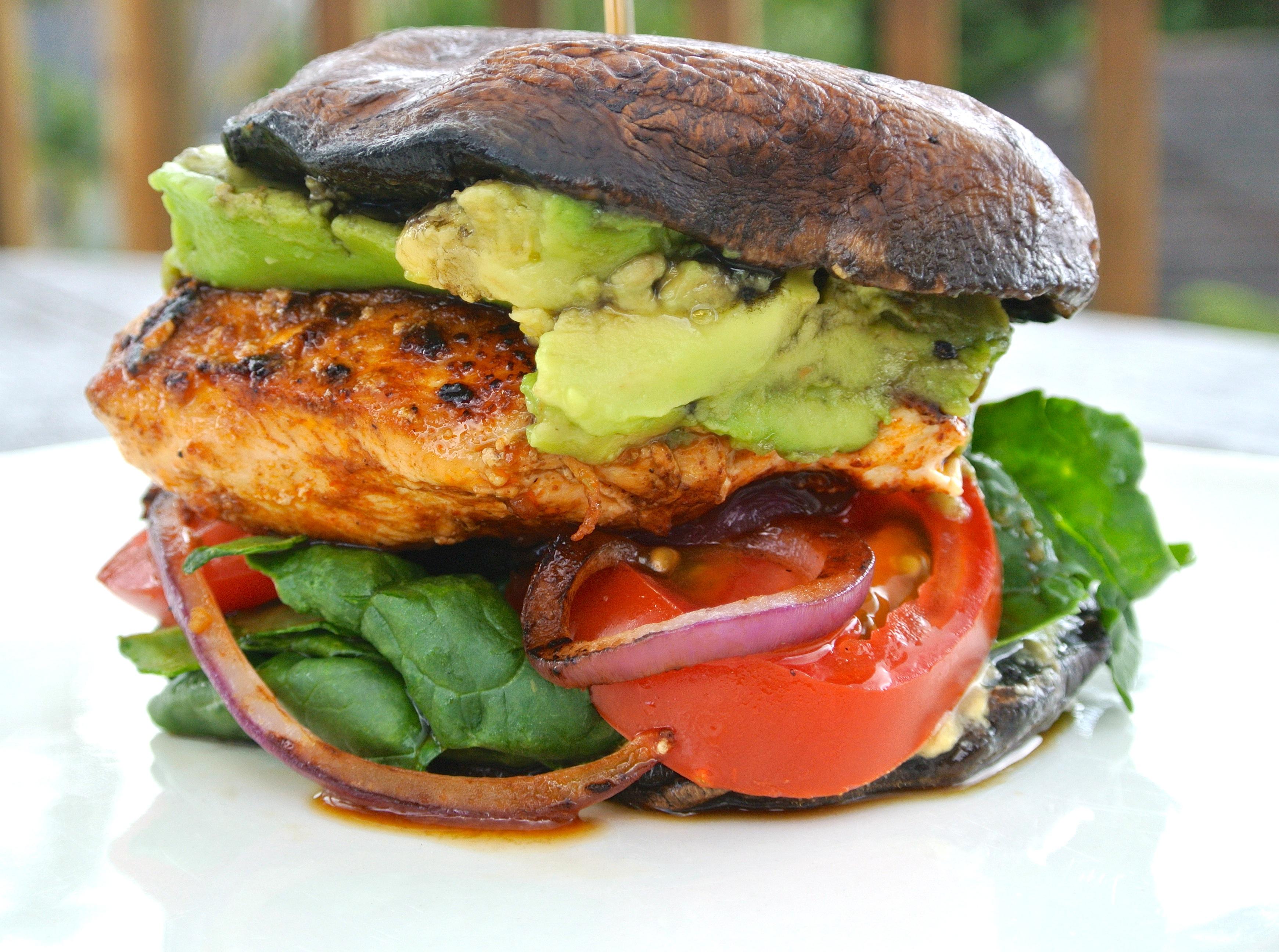 "Grilled Portobello & Cajun Chicken ""Burger"" | THE ARTISTS PLATE"