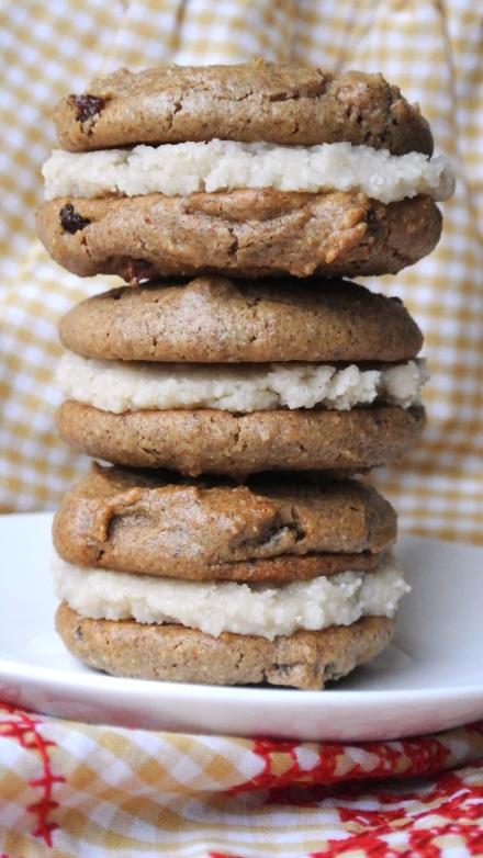 almond raisin cookies stack